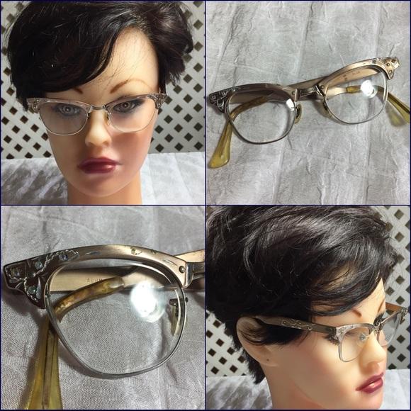 7f3f21ab63d0 Vintage 50s cat eye glasses aluminum. M 5acf630500450febb11992bb